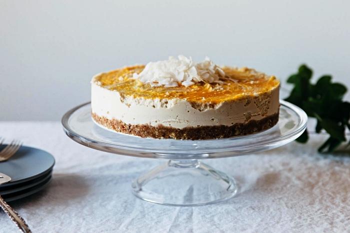 gateau sans four à la mangue, recette de cheesecake vegan à la mangue et noix de coco à base de noix de cajou