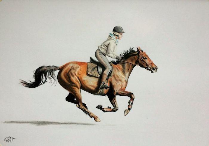 Jockey et son cheval en galope, dessin au crayons colorés, dessin réaliste à faire, dessin photo-réaliste