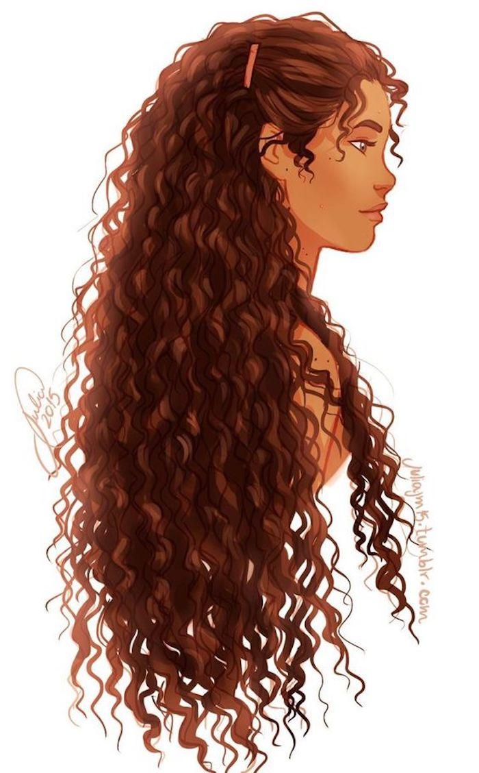 Fille dessin a reproduire, redessiner un beau dessin, portrait de fille cheveux crépus longs, belle fille peinture aquarelle