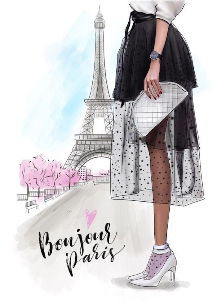 La tour Eiffel, rue avec arbres de printemps, fille tenue chic, un dessin simple à reproduire, comment dessiner des dessin