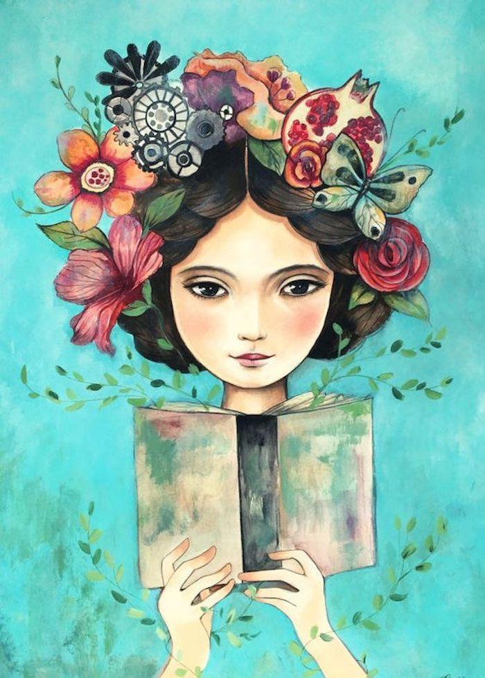 Fantastique fantaisie, fille couronne de fleurs et livre dans les mains, peinture à l'aquarelle métaphorique, lire plus de livres, dessin fille