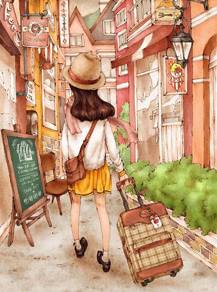Peinture fille avec valise, vacances peinture couleurs pastel, dessin facile à reproduire, art dessin beau aquarelle peinture