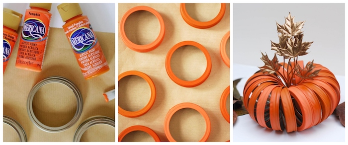 tuto automne pour faire une citrouille d automne en couvercles de pot recyclés et repeints de peinture orange