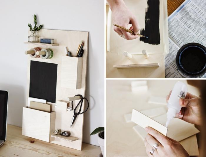comment fabriquer un organiseur de bureau, diy organiseur en bois avec différents niveaux pour accessoires
