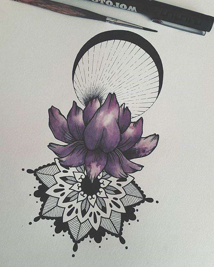 Violet lotus tatouage thailandais, quelle est la signification du lotus, original dessin fleur, la lune et mandala