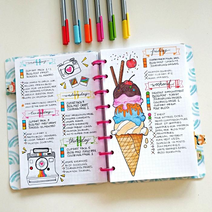 cahier bullet journal personnalisé décoré de petits dessins colorés, idée de mise en page d'un calendrier hebdomadaire dans un bullet journal