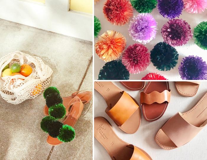activité créative femme, idée loisir créatif facile, personnaliser sandale femme plate avec pompons, modèle sandales customisées avec pompons verts