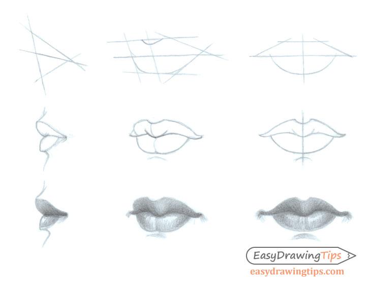 Lèvres de femme, lèvre boudeuse dessin, face et côté realiste dessin facile a reproduire par etape