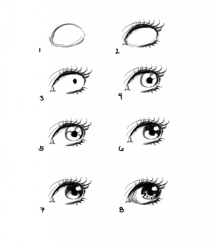 Oeil de fille petit dessin facile a faire, dessin à reproduire, comment dessiner des yeux en crayon noir