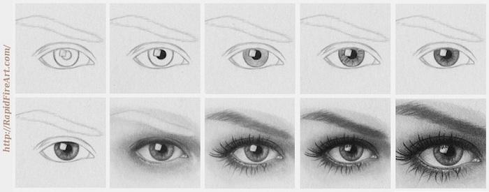 Comment dessiner un oeil, apprendre a dessiner un visage par étapes, inspiration dessin 3d, gradation de l'image