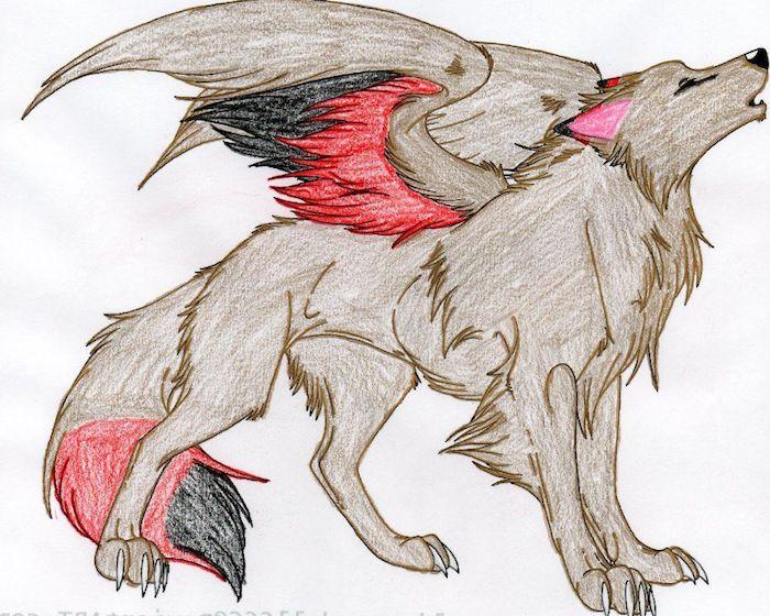 image de loup griffon créature légendaire, loup aux ailes, idée dessin de loup facile aux crayons de couelur