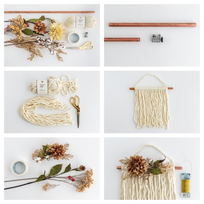 tuo macramé simple avec de petites décorations d automne pour faire une couronne d automne originale