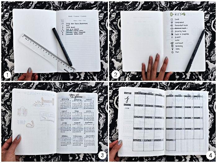 conseils pour commencer un bullet journal, exemples de mise en page d'un planning mensuel et d'un index