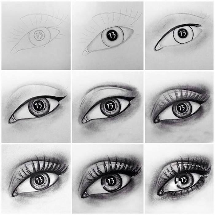Originale idée de oeil dessin avec le numéro 13 dans l'iris, illusion d optique dessin, inspiration dessin yeux de femme