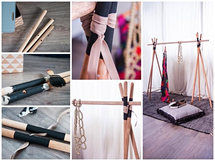 tutoriel pour fabriquer un dressing en bois ouvert au design tipi à partir de bâtons en bois attachés ensemble
