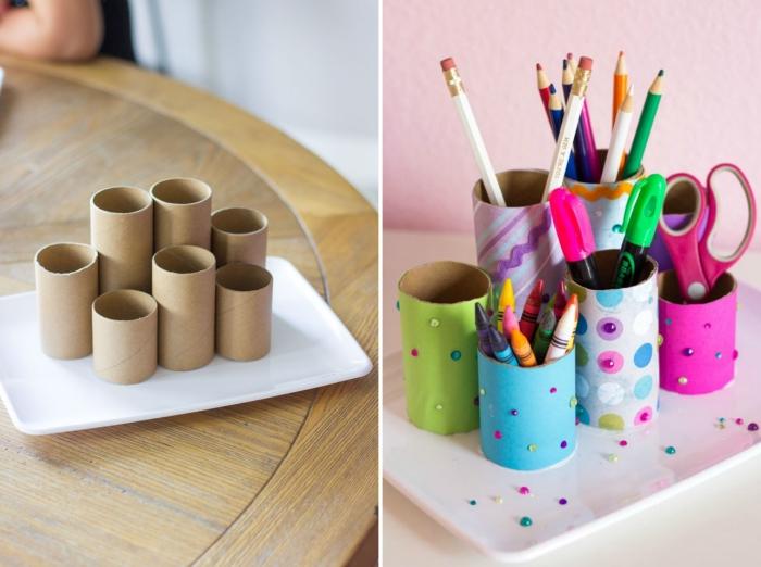 DIY pot à crayon original, tutoriel fabrication accessoire bureau avec rouleau de toilettes peintes en couleurs variées