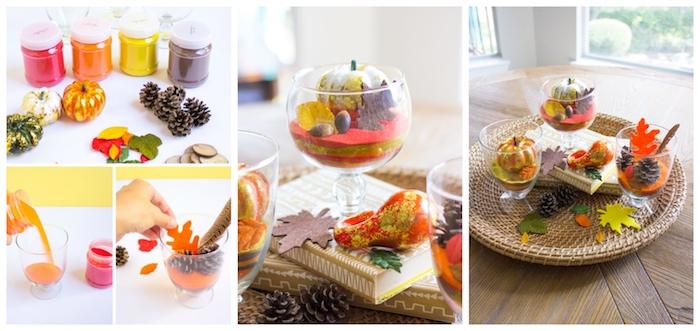 diy terrarium a faire soi meme avec du sable coloré de couches de couleurs variées et petites décorations potirons, pommes de pin, feuilles d automne artificielles