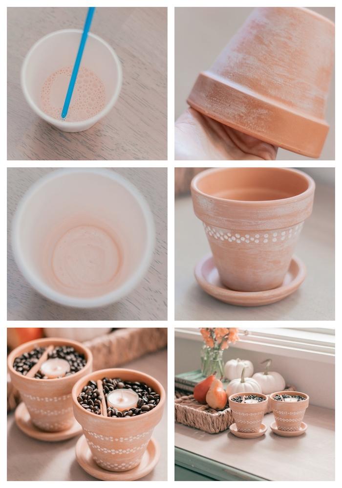 tutoriel pot de fleur diy en terre cuite, avec des grains de café à l intérieur, bougies et baton de cannelle