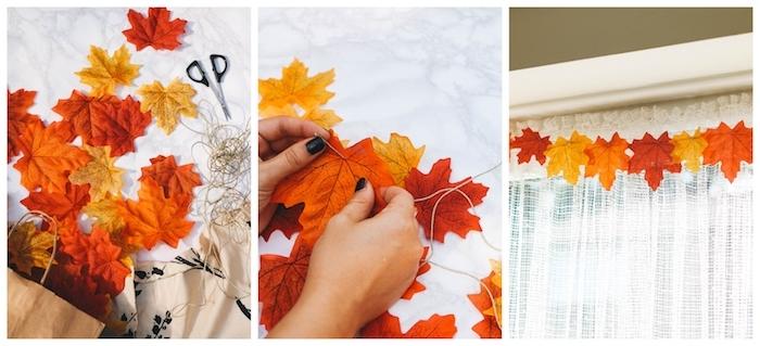 guirlande de feuilles mortes d automne enfilées sur un long fil de chanvre, pour creer une deco fenetre automne