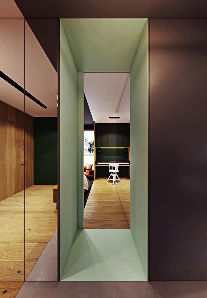 quelle couleur peindre un couloir avec beaucoup de portes, aménagement d'une entrée longue et étroite peinte en vert amande et vieux rose