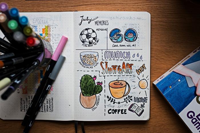 exemple de mise en page avec les souvenirs du mois illustrés, méthode d'organisation bullet journal idées de mise en page