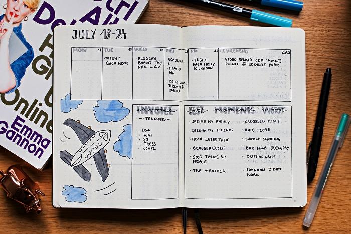 idée bullet journal personnalisé avec planning par semaine, une simple grille à compléter pour l'agenda hebdomadaire