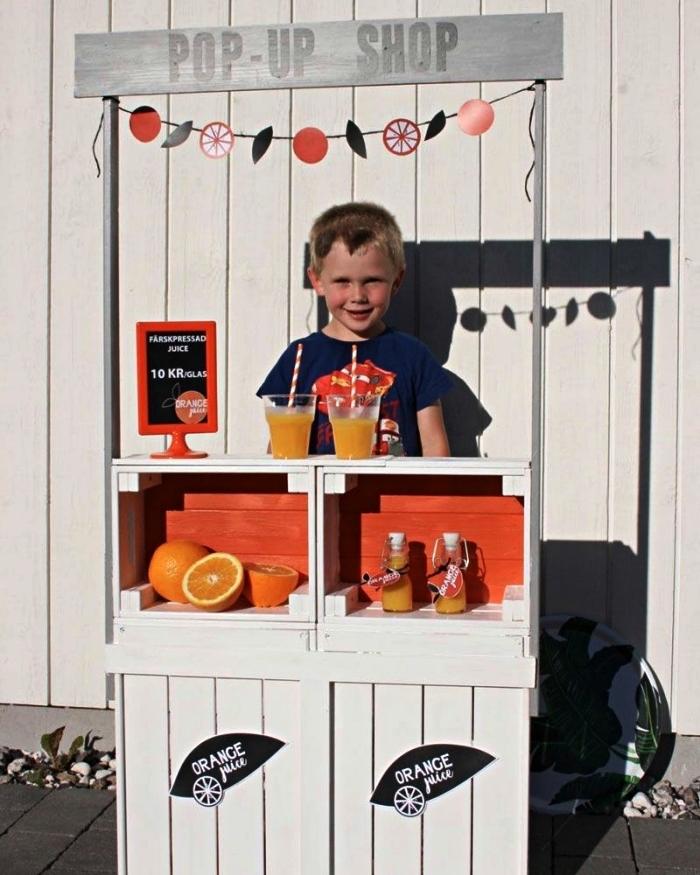 construire un bar à limonade pour enfants avec des caisses en bois ikea, idées de détournements de caisses ikea