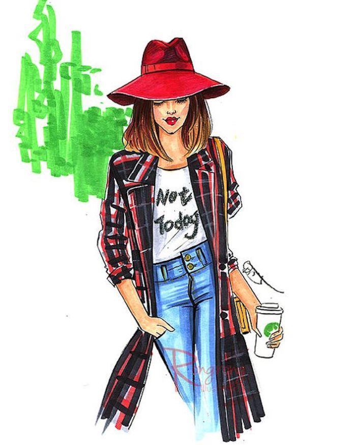 Mode femme dessin, comment dessiner une fille tenue moderne, image de dessin à reproduire, comment dessiner aquarelle