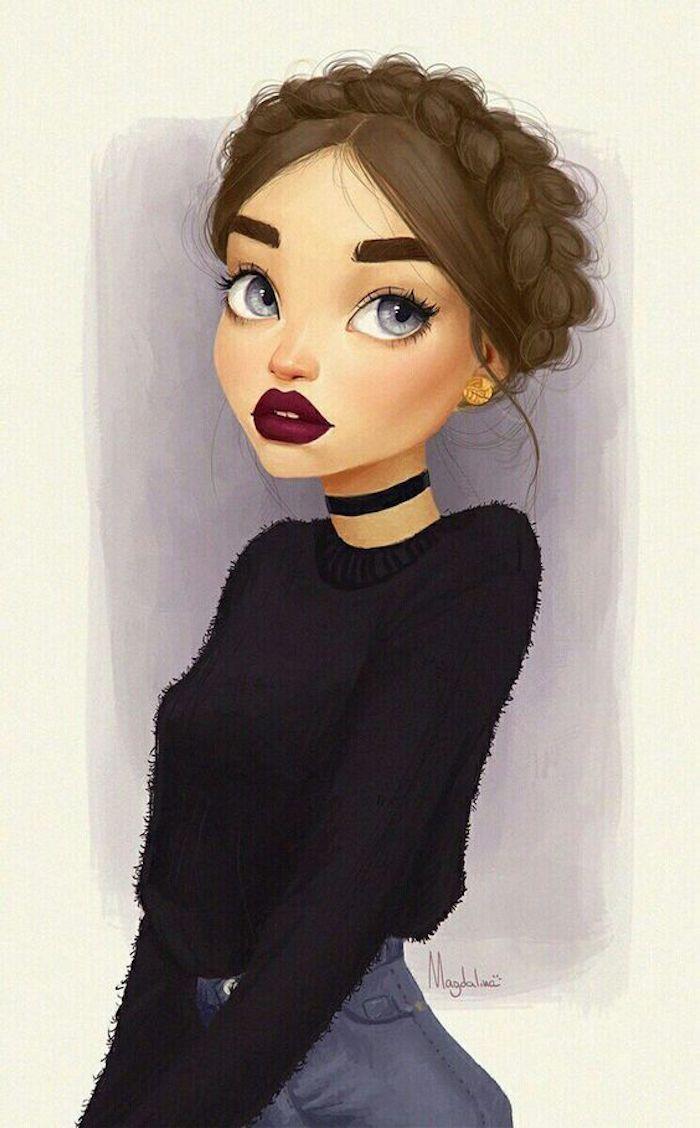 Dessin fille tresse couronne, image facile a reproduire, redessiner un dessin de fille moderne tenue et rouge à lèvre