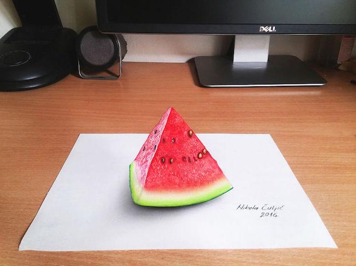 Pastèque dessin 3d magnifique photo réaliste à couleurs, dessin fruit rouge et vert, dessiner un objet, comprendre les proportions