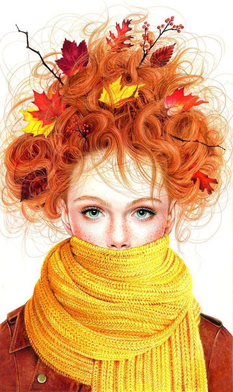 Fille automne, modele de dessin a reproduire, exemple de dessin, cheveux roux, écharpe jaune, cheveux bouclés