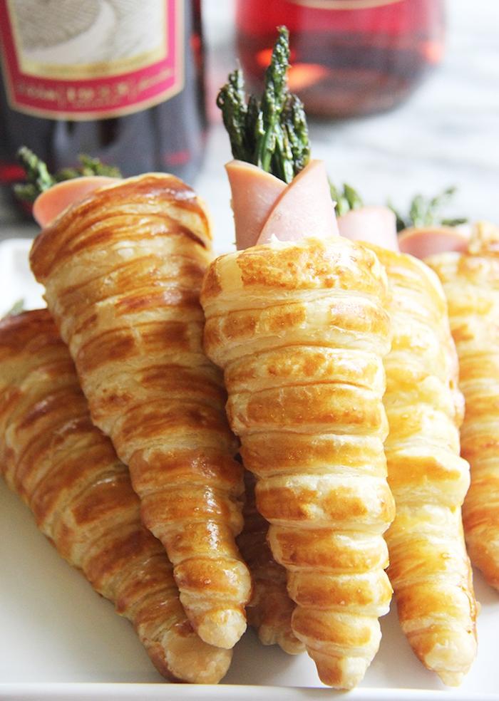 cornet apéro drapide avec jambon et asperges, idée pour amuse bouche apero dinatoire pour 10 personnes