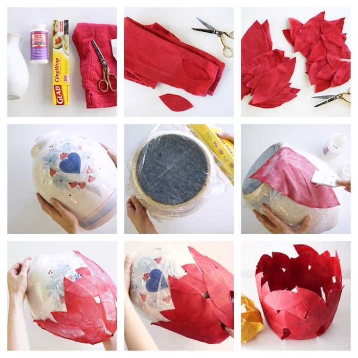 exemple de panier imitation feuilles d automne rouge, idee recycler une paire de jeans rouge pour en faire une deco d automne