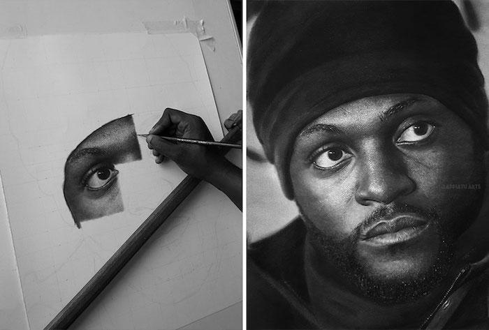 Comment le dessin est réalisé, inspiration dessin photo réaliste a faire, dessin au crayon noir sur papier blanc