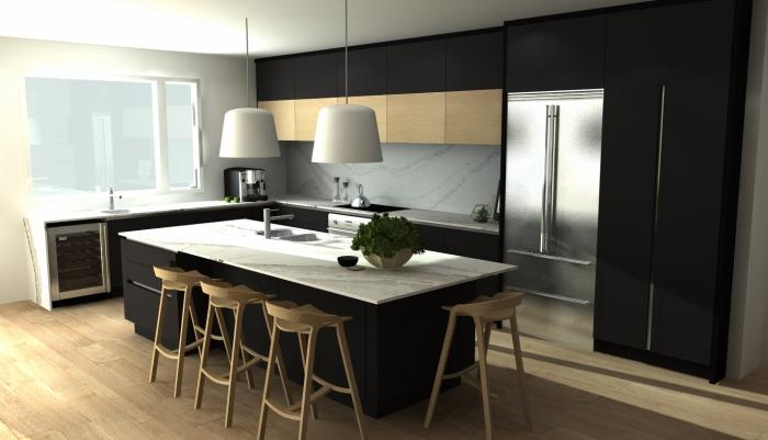 décoration cuisine blanc et bois avec meubles en noir mate, agencement cuisine en l avec îlot central bicolore
