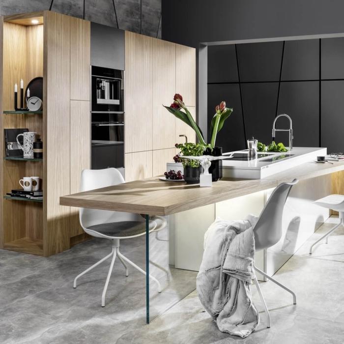 aménagement cuisine ouverte de style moderne, idée cuisine bois moderne avec îlot table à manger en blanc et bois