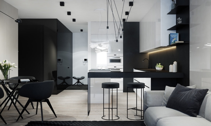 design intérieur style contemporain, décoration petite cuisine avec bar, modèle de cuisine noir et blanc à finitions mates