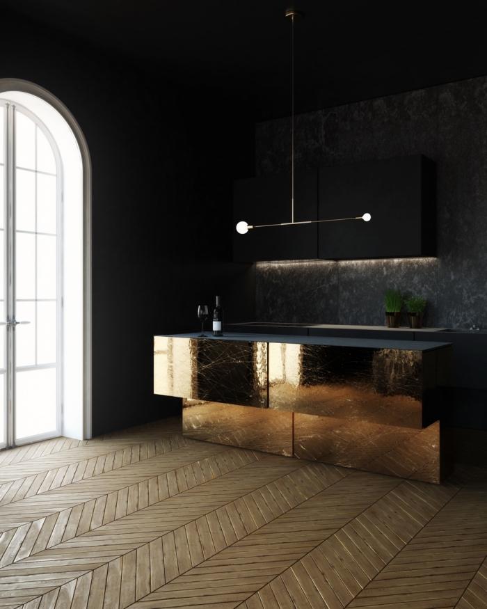 modèle de cuisine noire et bois avec armoires à effet miroir, meubles de cuisine en noir mate avec éclairage led