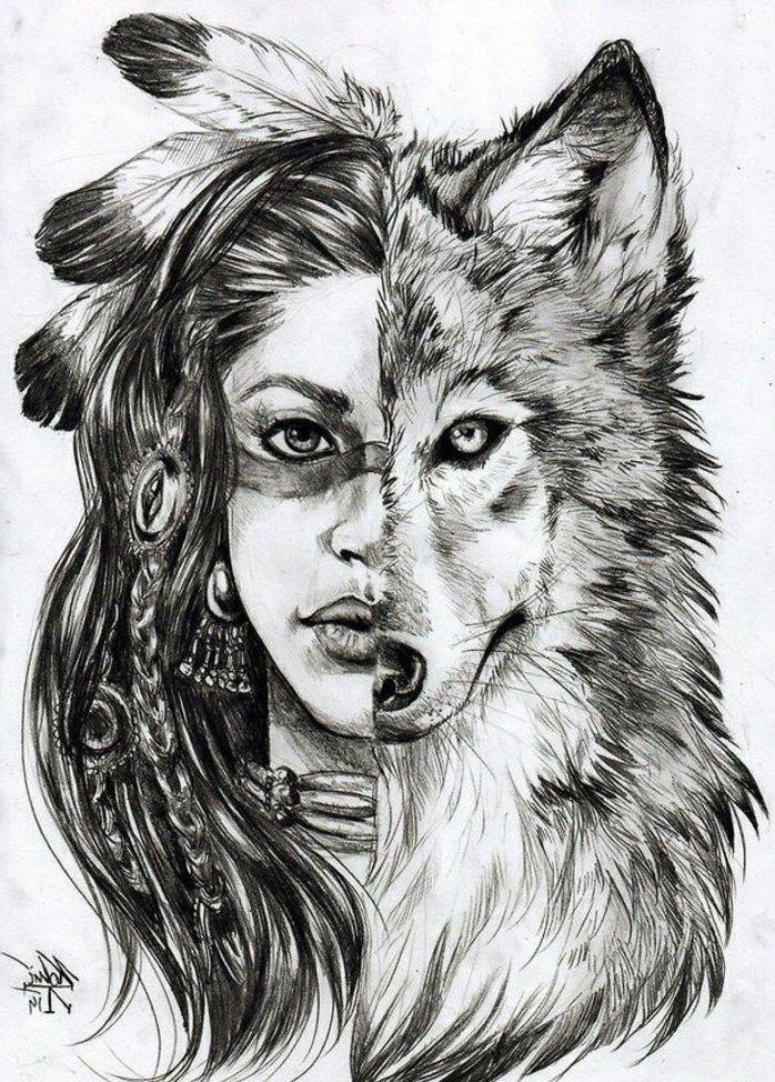 modele de dessin loup tribal, demi tete de loup demi visage de femme amerindienne, image tribal graphique originale