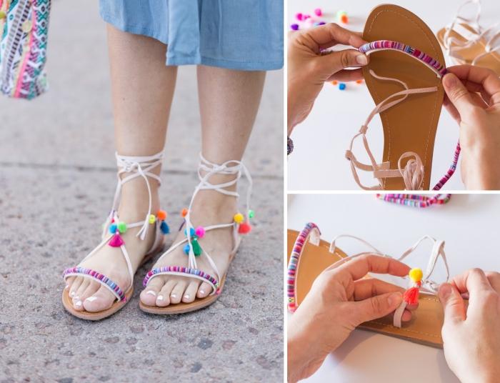 activité créative, exemple comment décorer ses sandales plates femme avec pompons, diy sandales personnalisées