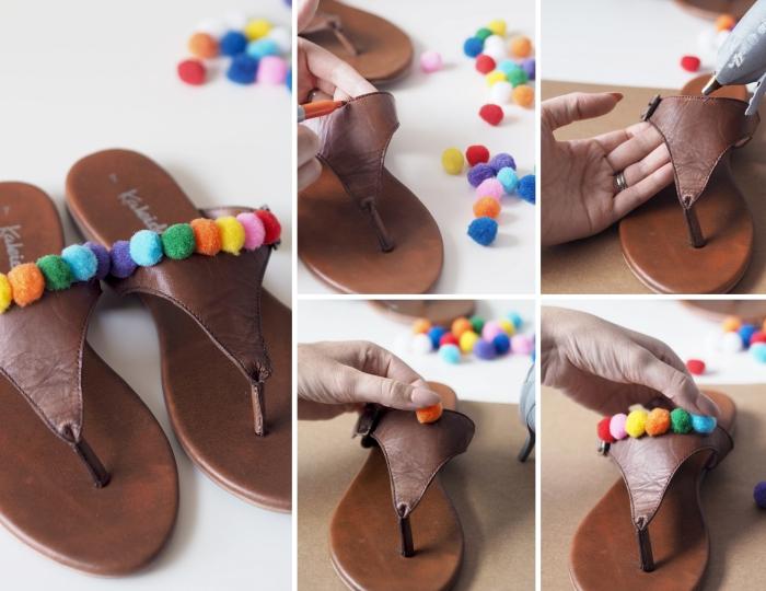tutoriel comment customiser ses sandales, modèle sandale ete 2019, étapes à suivre pour coller des pompons sur chaussures d'été