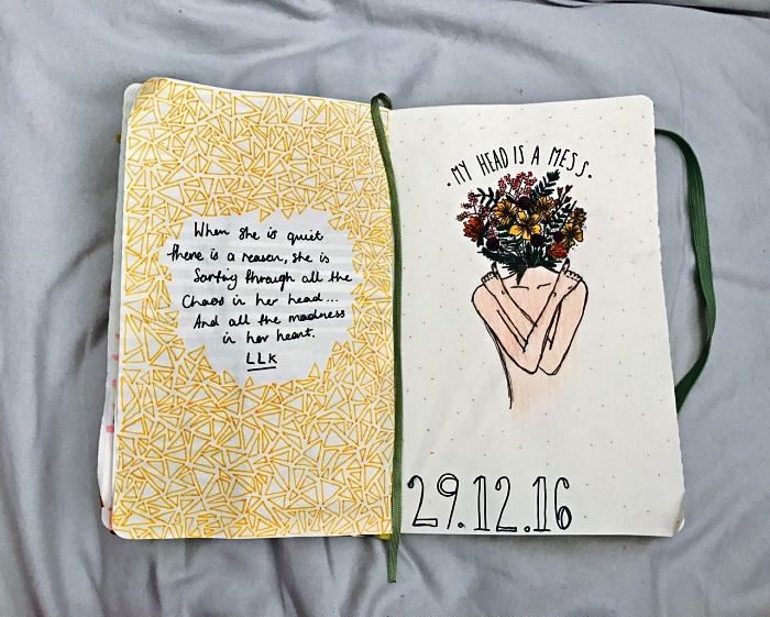 bullet journal idées de pages créatives, une page double avec citation inspirante et dessin original