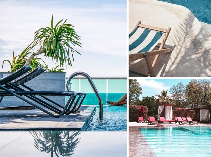 comment décorer l'espace autour d'une piscine, aménagent terrasse bétonnée avec plantes exotiques et chaises longues, aménager les abords de sa piscine
