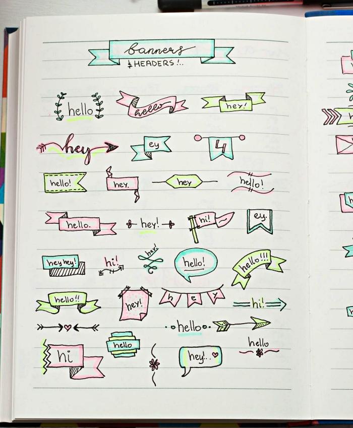 dessin bullet journal pour la mise en page des calendriers, modèles de bannières à dessiner soi-même