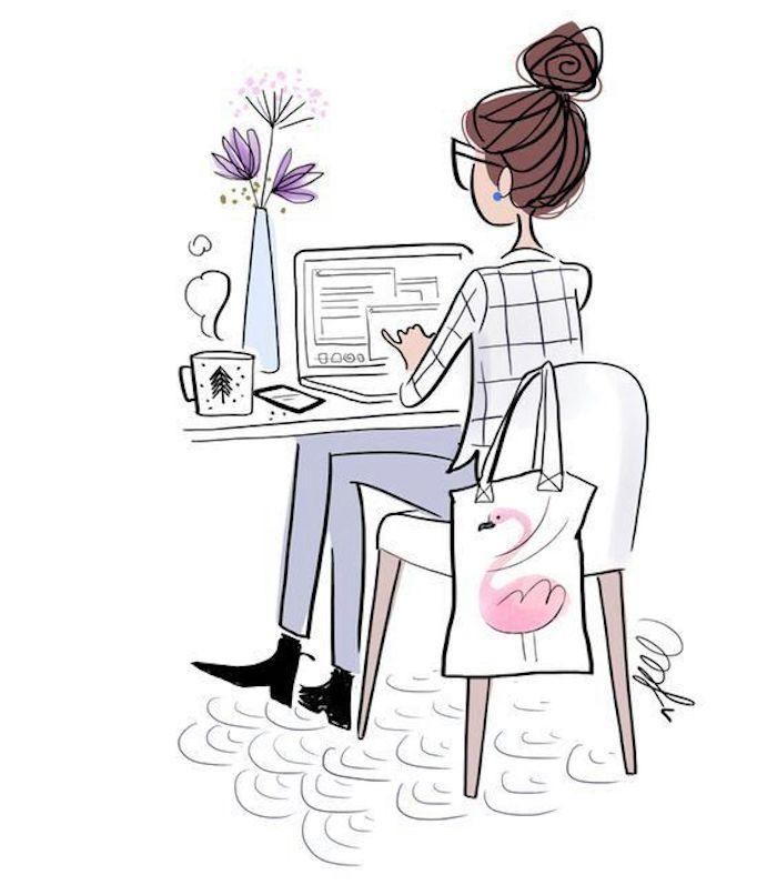 Fille qui travaille dans son bureau, cool idée comment dessiner une fille, modèles de dessins à reproduire, idée dessin art