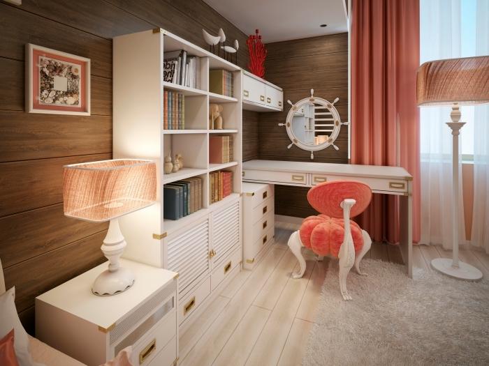 revetement mural bois, comment décorer une chambre fille aux murs en planches de bois foncé et meubles blancs