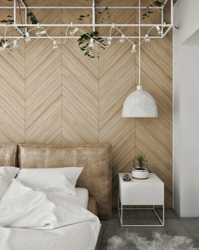 quels matériaux et couleurs pour une déco scandinave et moderne, aménagement chambre bois et blanc avec lambris mural bois
