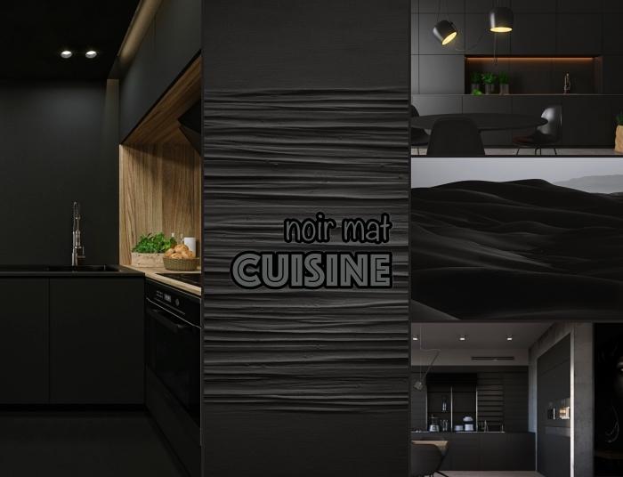 conseils aménagement cuisine noire et bois, design cuisine moderne en l, décoration cuisine linéaire en couleurs foncées