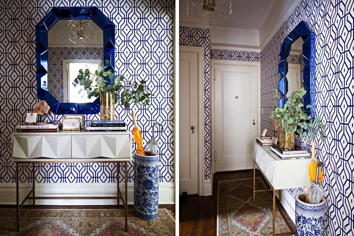 decoration maison moderne dans l'esprit de l'art déco, console d'entrée design géométrique installée dans une petite entrée