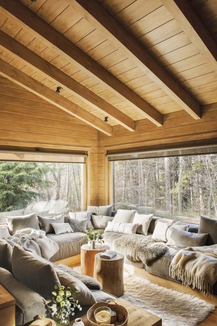 idée comment décorer un salon de style rustique avec meubles en bois, exemple revêtement mural en bois clair